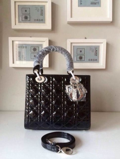 "Dior ""Lady Dior"" CAL44501 N0 Patent Leather Black Cannage Mini Crossbody Bag Top Handle Silver Hardware"