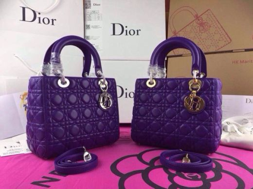 "Cheapest Dior ""Lady Dior"" Default Tote Bag Purple Calfskin Silver & Gold Trim"