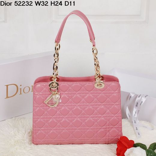 """Fashion Dior Pink Lambskin """"Lady Dior"""" Zipped Shoulder Bag Golden Chain & Leather Strap 3 Compartments"""