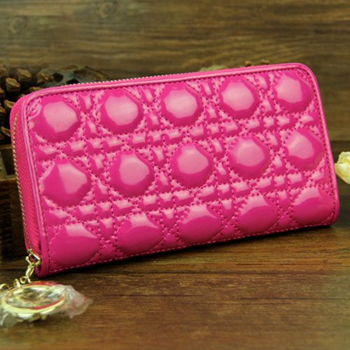 Dior Lady Dior Long Cannage Peach Wallet Yellow Brass Zipper AAA Patent Leather For Girls