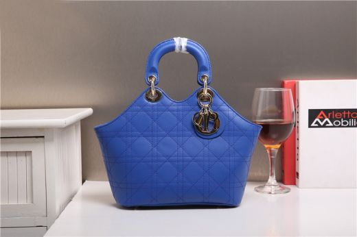 Women's Christian Dior Top Handle Golden D.I.O.R Charm Sapphire Blue Calfskin Cannage Tote Bag UK Price