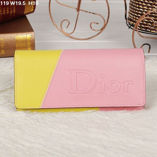 Dior Fashion Multicolor Dior Logo Flap Fall Wallet Yellow-pink For Girls
