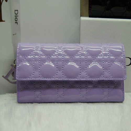 Dior Hot Selling Light Purple Lady Dior Cannage Quilted Wallet Patent Leather 2 Photo Slots