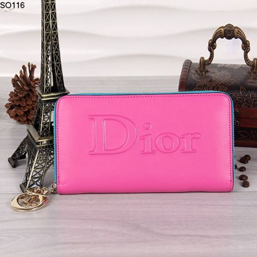 High Quality Peach Leather Ladies Wallet Yellow Gold Zipper With D.I.O.R Charm Sale Uk