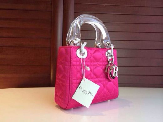"""2017 Mini Dior """"Lady Dior"""" Rose Red Leather Silver Hardware Totes Bag Transparent Top Handle"""