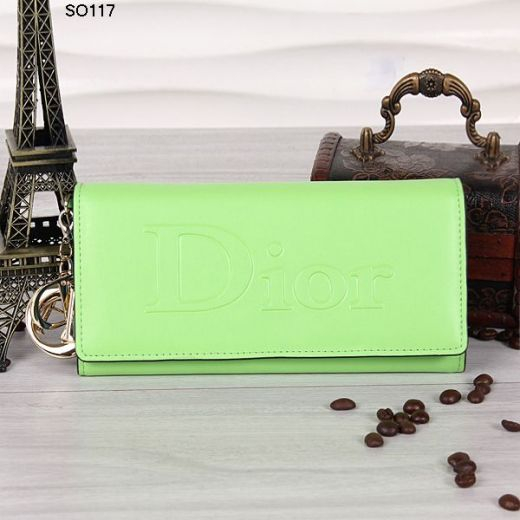 Christian Dior Ladies One Zipped Purse Lime Flap Leather Wallet Golden Hardware