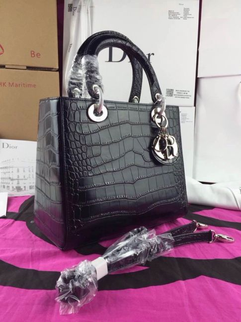 """High End Dior Top Handle Silver Hardware """"Lady Dior"""" Black Leather Totes Bag Narrow Strap"""