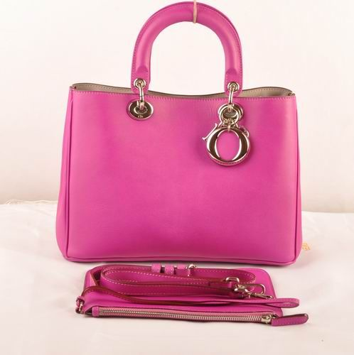 """Fashion Trends Dior """"Diorissimo"""" Womens Peach Smooth Leather Top Handle Crossbody Bag Side Snap Buttons"""