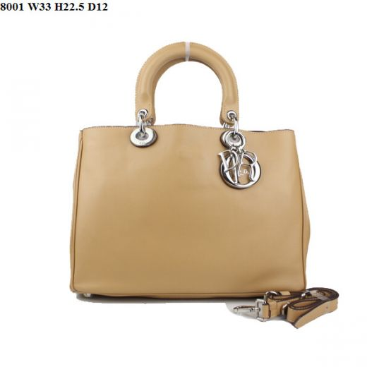 """Elegant Style Womens  Dior """"Diorissimo"""" Apricot Nappa Leather Small Tote Bag With Slip Pocket Good Price"""