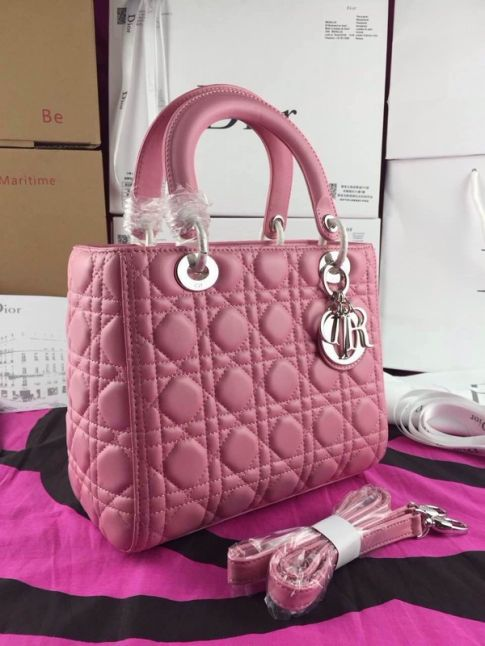 "Low Price Silver D.I.O.R Charm Dior ""Lady Dior"" Pink Leather Cannage Medium Totes Adjustable Narrow Strap"