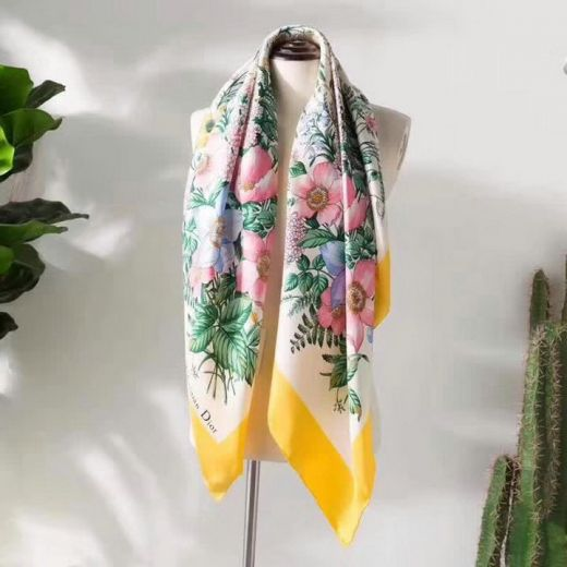Dior High Quality Multicolored Flowers Printing Yellow Edging Ladies Square Silk Twill Scarves Online