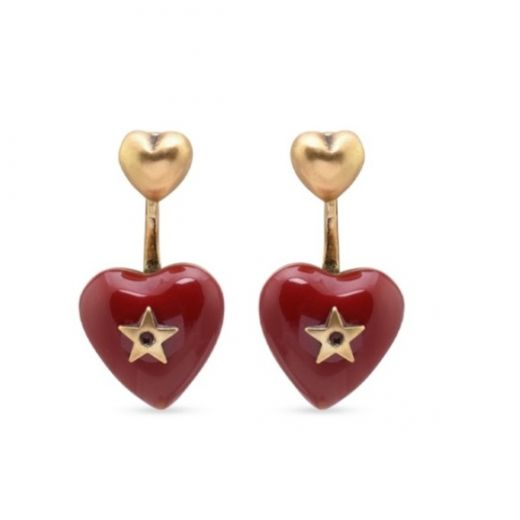 Replica 2021 Fashion Dior Dioramour Heart-shaped Pendant Antique Brass Star & Heart Charm Females Red Enamel Earrings