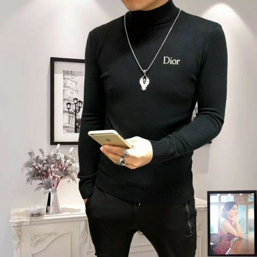 Dior Popular Yellow Logo Mens Slim-fit Black Cotton & Wool Blended Roll Neck Sweaters Price List