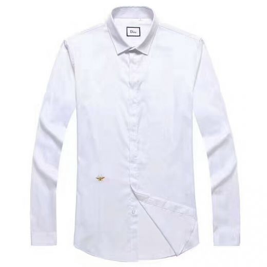 Dior Fashion Bee Embroidery Trimming Double Buttons Cuffs Guy White Poplin Slim-fit Leisure T-shirts Replica
