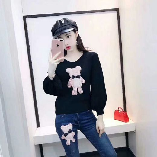 Luxury Dior Pearl & Fur Bear Trimming Black Knit Sweater Super Comfy Blue Skinny Jeans Female Suits