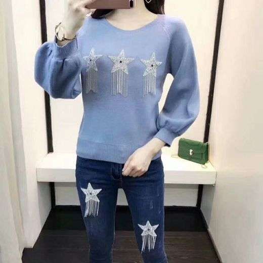 Dior Star Pattern Crystal & Tassel Trimming Light Blue Wide-sleeve Knit Sweater Blue Skinny Jeans Ladies Suits