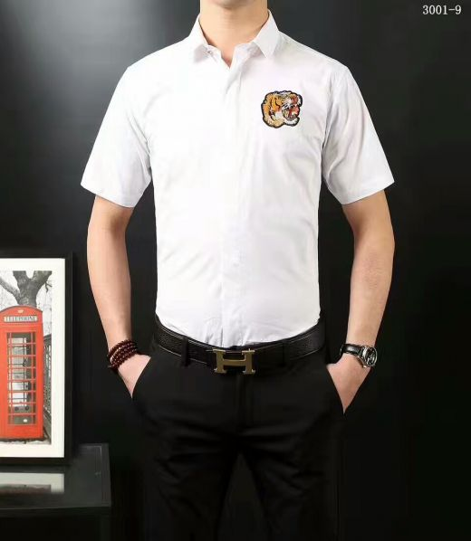 Classic Dior White Mercerized Cotton Blended Fashion Tiger Embroidery Design Guy Slim-fit Short-sleeve T-shirts