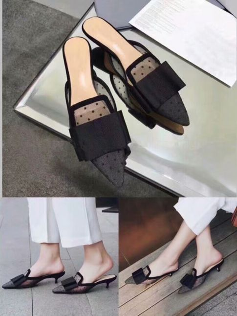 2018 Summer Hot Selling Dior Women's Black Mesh Pointy Toe Bow High-Heeled Sandals Price UK Replica