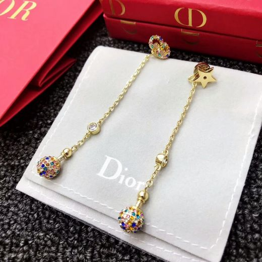 Stylsih Christian Dior La Petite Tribale Star Colorful Crystals Charm Diamonds Drop Gold-tone Earrings Imitations In 2018