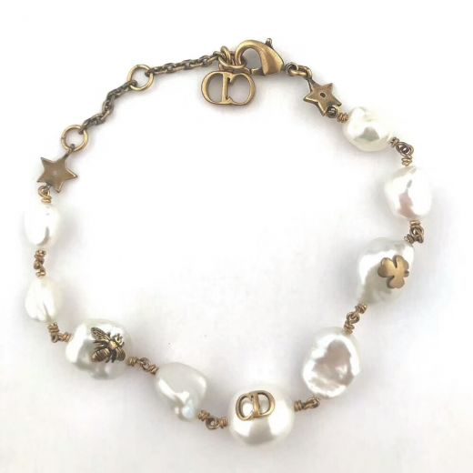Imitation Dior Tribale Native Retro Brass CD Bee Charmming Irregularity Pearl Bracelet For Womens
