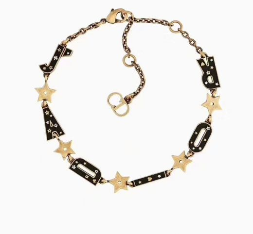 2019 Classic Christian Dior JAdior Motif Black Star Vintage Yellow Brass Womens Bracelet In Canada