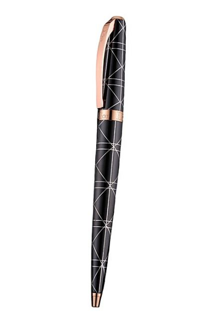 2017 New Logo Clip Rose Gold & Black Lacquer With Silver Pattern Ballpoint Pen Replica