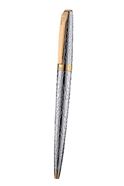 Unique Christian Dior Yellow Gold Logo Center Band Fully Embossed Stylish Silver Gift Ballpoint Pen